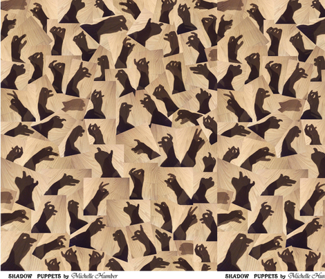 Shadow Puppets on Wood (1) fabric by michellehumberart on Spoonflower - custom fabric