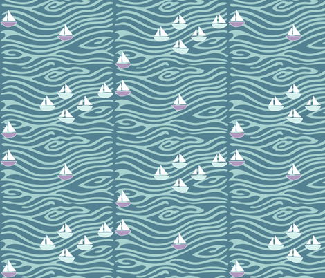 Sailing at the lake - lilac275-seafoam175-midblue196 fabric by mina on Spoonflower - custom fabric