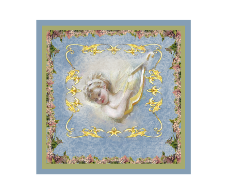 cherub_on_blue fabric by butterflyme on Spoonflower - custom fabric