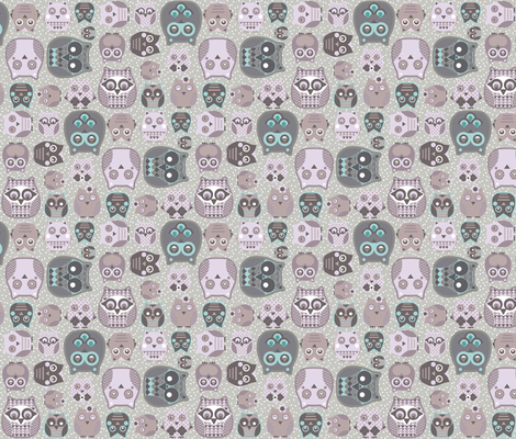 owls neutral fabric by katarina on Spoonflower - custom fabric