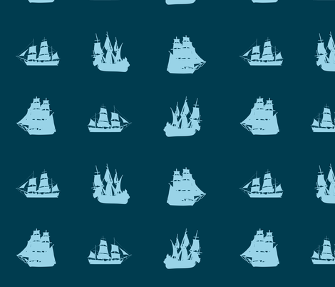 Oceanic Sailing Shipness fabric by smuk on Spoonflower - custom fabric