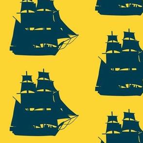 Navy Sailing Ships on Sunny Seas