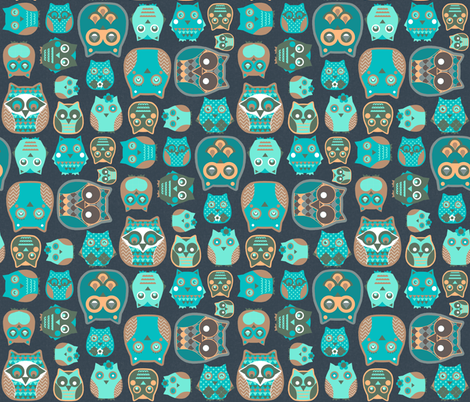 owls emerald fabric by katarina on Spoonflower - custom fabric