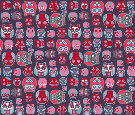 owls red fabric by katarina on Spoonflower - custom fabric