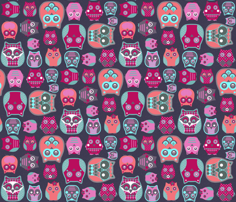 owls pink blue fabric by katarina on Spoonflower - custom fabric