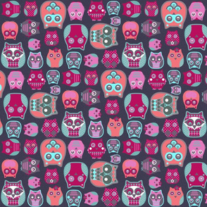 owls pink blue