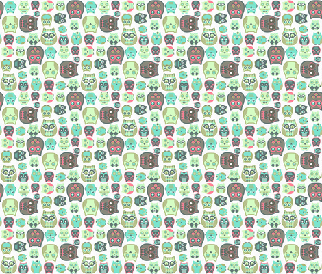 small owls on canvas white  fabric by katarina on Spoonflower - custom fabric