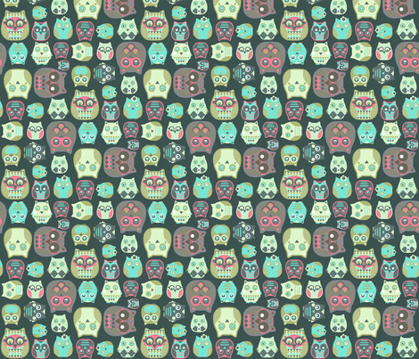 owls sage blue coral fabric by katarina on Spoonflower - custom fabric