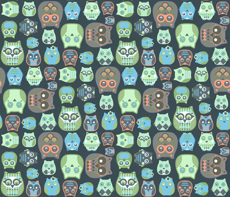 owls orange blue green fabric by katarina on Spoonflower - custom fabric