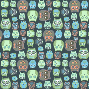 owls orange blue green