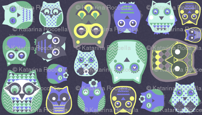 owls violet yellow green