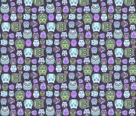 owls violet blue green fabric by katarina on Spoonflower - custom fabric