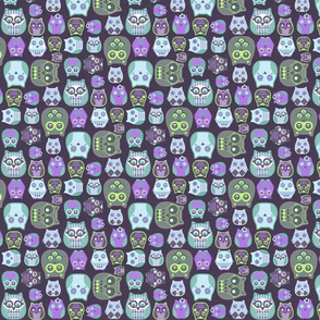 owls violet blue green