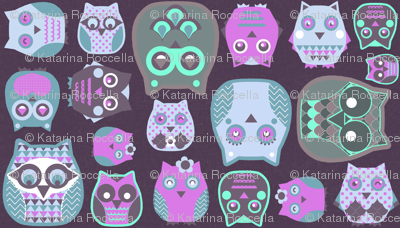 owls pink blue grey