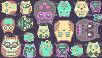 owls pink sage green