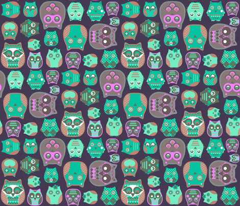 owls emerald pink fabric by katarina on Spoonflower - custom fabric