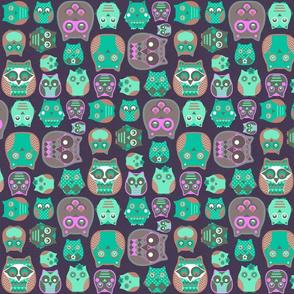 owls emerald pink