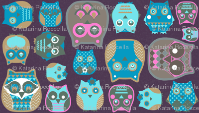 owls pink blue mustard