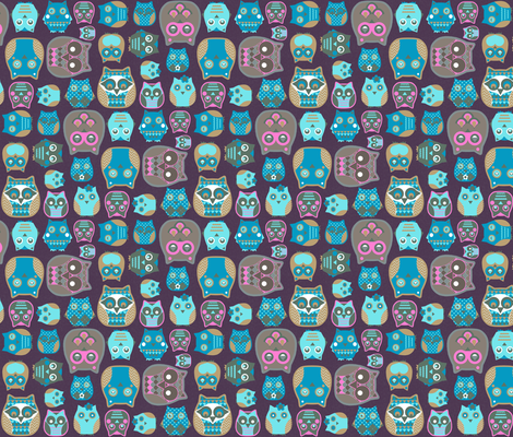 owls pink blue mustard fabric by katarina on Spoonflower - custom fabric