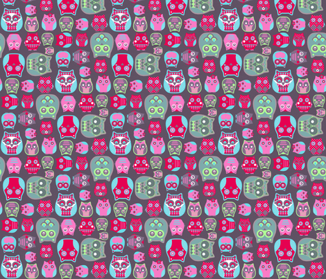 owls pink red blue green fabric by katarina on Spoonflower - custom fabric