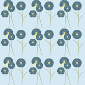vintage flowers with blue background