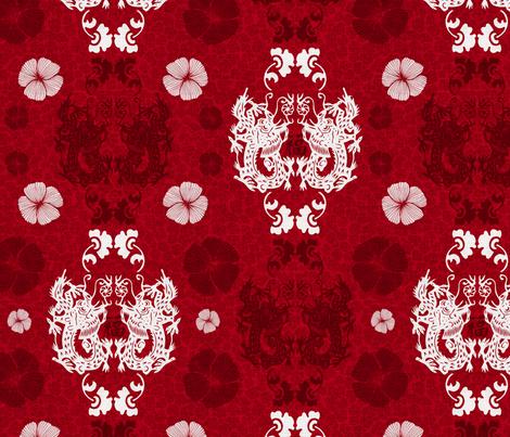 Dragons damask fabric by dinorahdesign on Spoonflower - custom fabric