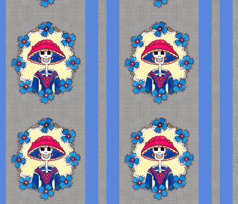 Mexican Catrina Amelia fabric by dinorahdesign on Spoonflower - custom fabric