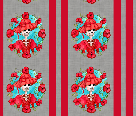 Mexican Catrina Carlota fabric by dinorahdesign on Spoonflower - custom fabric