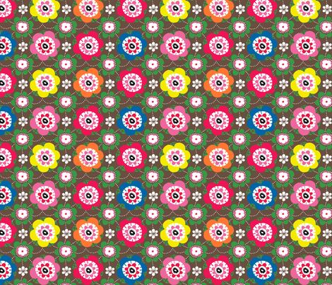 Folkdance Floral fabric by maggiemac on Spoonflower - custom fabric