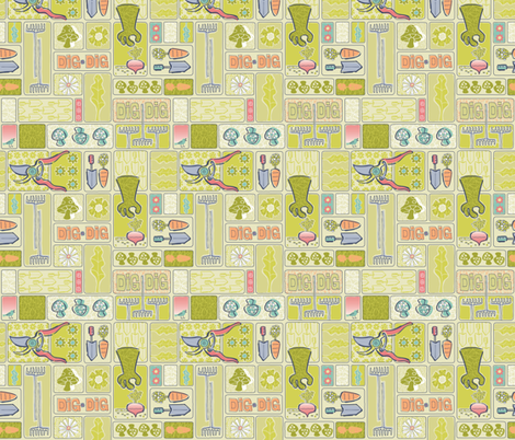 DIG IT! small scale fabric by gitchyville_stitches on Spoonflower - custom fabric