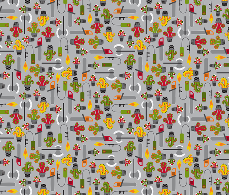 Monstrous gardening tools fabric by petitspixels on Spoonflower - custom fabric