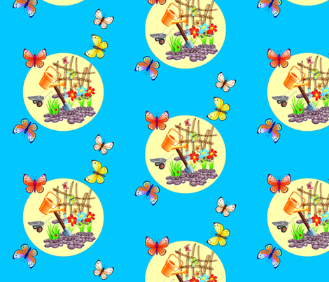 Garden fabric by retroretro on Spoonflower - custom fabric
