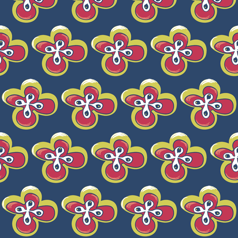 Painted floral on blue with yellow fabric by pinkbrain on Spoonflower - custom fabric