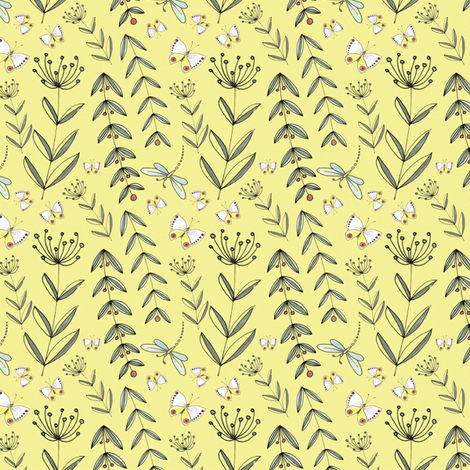 Herbs & Wildflowers - Yellow | www.alexcolombo.com fabric by studio•alex on Spoonflower - custom fabric