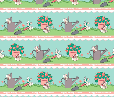 Happy Bunny Garden fabric by aimee on Spoonflower - custom fabric