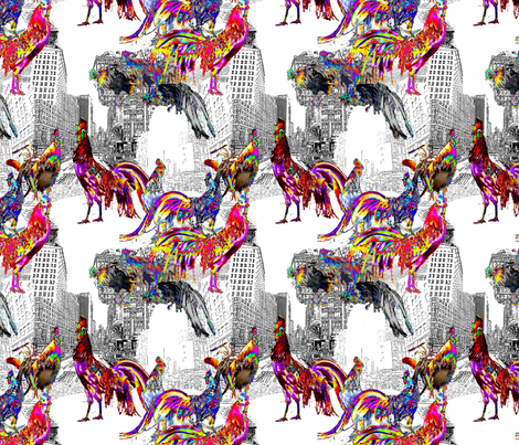 Roosters of New York fabric by bloomingwyldeiris on Spoonflower - custom fabric