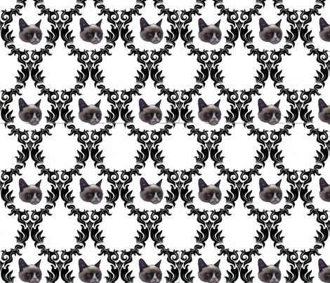 Grumpy Cat Damask fabric by timelapsed on Spoonflower - custom fabric