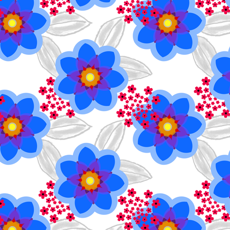 Lotsa Fun Floral in blue and red fabric by joanmclemore on Spoonflower - custom fabric