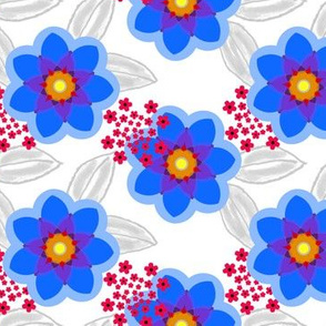 Lotsa Fun Floral in blue and red