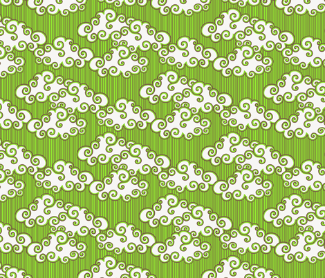 Gepetto Cottage Clouds - Green fabric by siya on Spoonflower - custom fabric