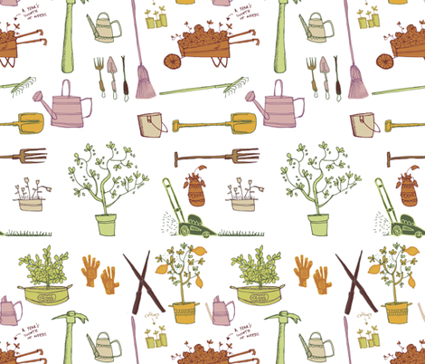 Giddy giddy garden tools fabric by laura_the_drawer on Spoonflower - custom fabric