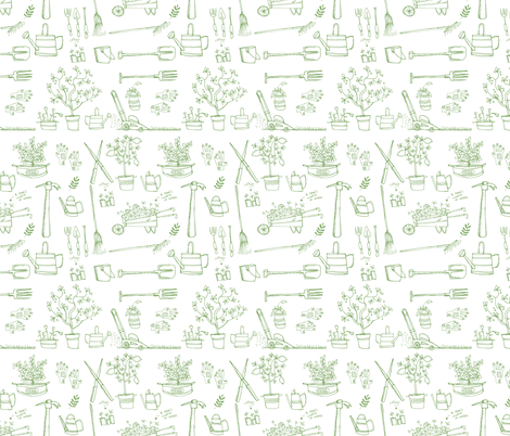 garden tools fabric by laurawrightstudio on Spoonflower - custom fabric