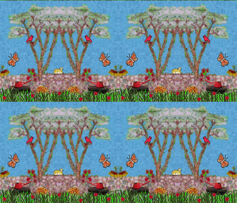 Bench in a Garden Collage fabric by anniedeb on Spoonflower - custom fabric