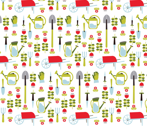 Tools for Spring Gardening fabric by theboutiquestudio on Spoonflower - custom fabric