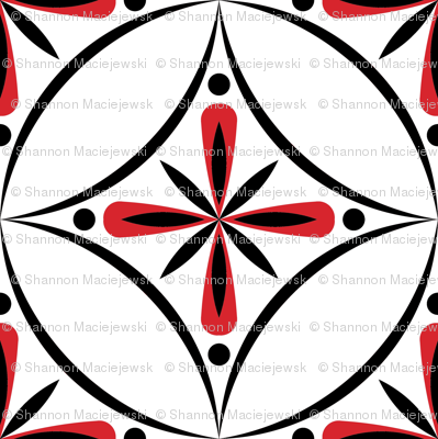 Moroccan Tiles 2 - Black White and Red