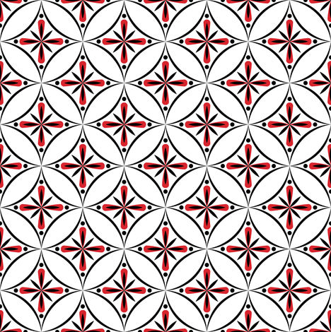 Moroccan Tiles 2 - Black White and Red fabric by shannonmac on Spoonflower - custom fabric