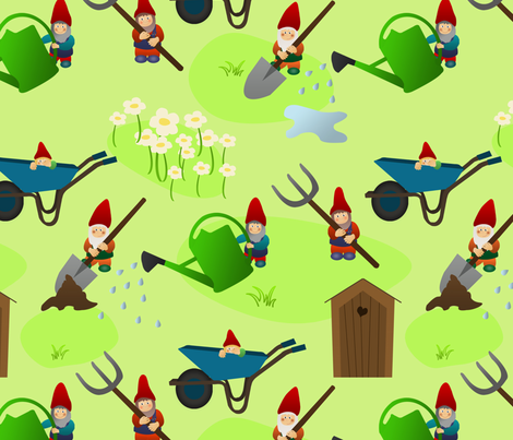 gnomes and their tools fabric by ellila on Spoonflower - custom fabric