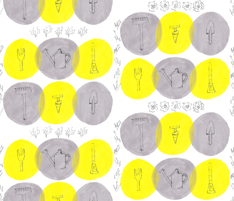 Garden_tools_yellow_and_grey fabric by pollywhistle on Spoonflower - custom fabric