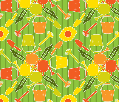 Garden Tools with Stripes fabric by ruthevelyn on Spoonflower - custom fabric