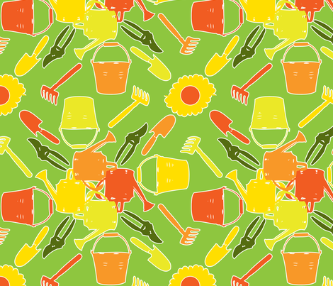 Garden Tools fabric by ruthevelyn on Spoonflower - custom fabric